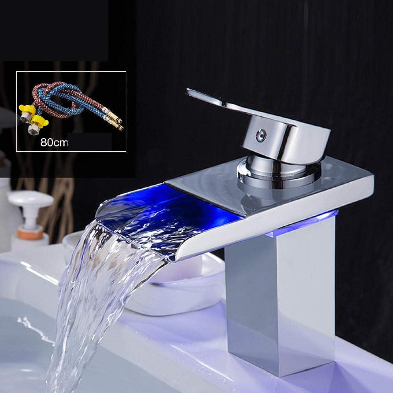 Led-Licht Bad Waschtischarmatur Mit Temperatursensor Wasserkraft Wasserfall Waschbecken Wasserhahn Waschtischmischer Messing Armatur @ 17Cm