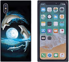 iPhone Xs Max Moonlight Dolphins Case, Soft Flexible TPU Back Square Cover Rectangle Case Compatible with iPhone Xs Max (Black Side)