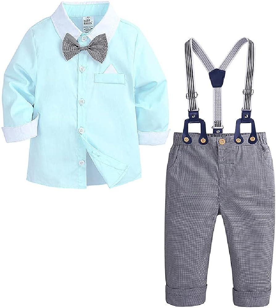 Quenny Children's Suits,Boys' Long Sleeve Contrast Shirt,bib,Bow tie Gentleman Suits.