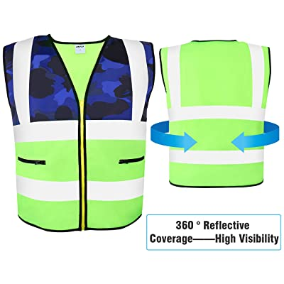 AKFLY Reflective Vest with Pockets Zipper for W...