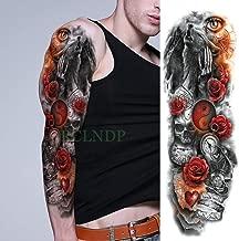 ljmljm 3 Piezas Impermeable Tatuaje Pegatina Leopardo Flor Tribal Pelo Largo Chica Luna Brazo Completo Tatuaje Tatuaje para Hombres Mujeres g Gris Oscuro 48x17 cm