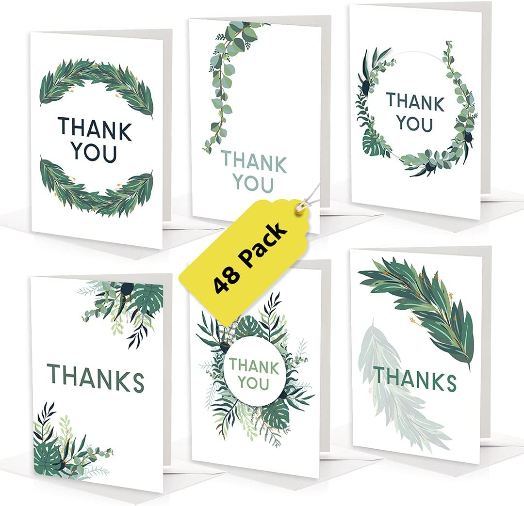 Japan's largest assortment Bilinny Greenery Thank You Cards with 48 of 55% OFF Envelopes Bulk Pack