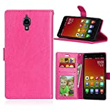 Funda Xiaomi 4 Xiao Mi 4 MI4 M4,Bookstyle 3 Card Slot PU Cuero Cartera para TPU Silicone Case Cover-Rosa Rojo