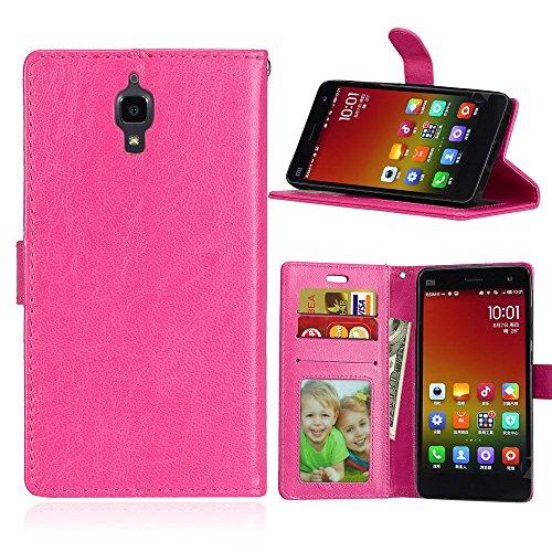Qiaogle Teléfono Case - Funda de PU Cuero Billetera Clamshell Carcasa Cover para Xiaomi Mi4 (5.0 Pulgadas) - DK06 / Rose Estilo