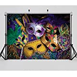 SJOLOON 7X5ft Mardi Gras Backdrop Carnival Masquerade Photography Backgrounds Mask Colorful Backdrop Party Decoration Banner Studio Props 11079