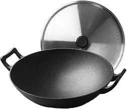 Flat Bottom Wok - GMING Stir-Fry Pans Saucepans Griddle Pans Non Stick Wok Double-Ear Cast Iron Pot Diameter 32cm Uncoated...