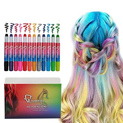 Qivange Haarkreide Auswaschbar Haarfärbestift 12 Farben Haarfarbe Ungiftig Hairchalk für Kinder Mädchen Geburtstag Weihnachten Halloween Fasching Cosplay