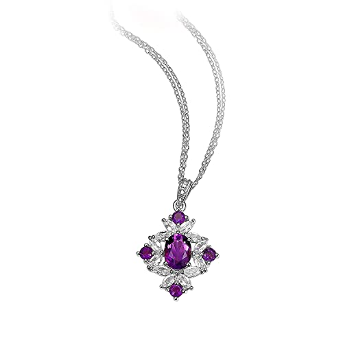 Lady Fashion Jewelry Cross Purple Amethyst Yellow Gold Gp Pendant Necklace