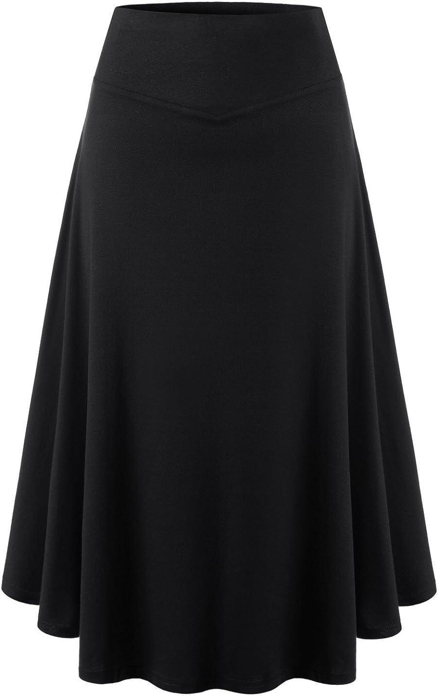NEARKIN Womens High Waist A Line 1 Mile Wear Midi Wrinkle Skirt