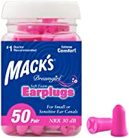 Mack's Dreamgirl Soft Foam Earplugs, 50 Pair, Pink - Small Ear Plugs for Sleeping, Snoring, Studying, Loud Events,...
