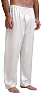 Men's Satin Soft Pajama Pants Sleep Long Classic Causual Pajama Bottoms Solid Lounging Pants Trousers