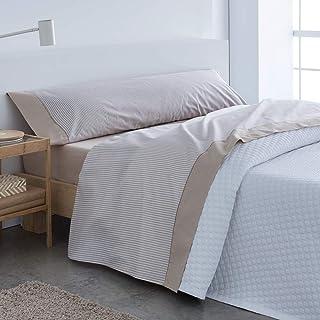 Barceló Hogar 03060110315 Juego de sábanas, modelo Carla, algodón 100%, beige, 105 cm