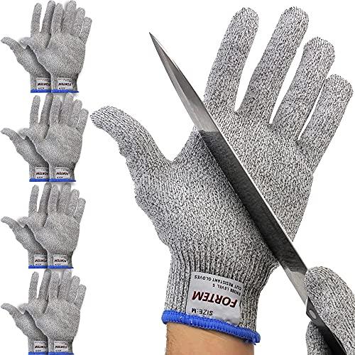 Fortem Cut Resistant Gloves, 4 Kevlar Gloves, Level 5 Protection Cutting Gloves For Oyster Shucking, Kitchen Work Gloves for Chefs, Food Grade, EN388 Certified (Medium)