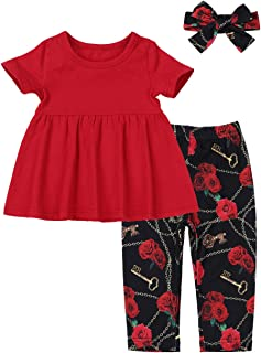 Baby Girl Clothes Floral Ruffle Top and Polka-dot Pants with Headband Toddler Girls Outfits Set