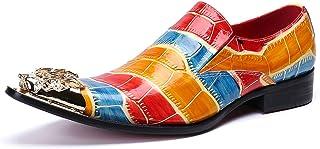 Los hombres de los zapatos de cuero de imitación de la cabeza de metal del cuero del cocodrilo para el partido informal, z...