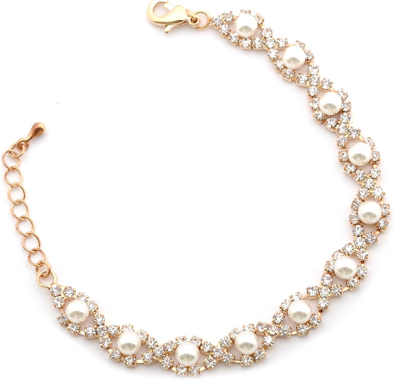 Topwholesalejewel Wedding Bracelet Gold Pearl Link 25% OFF Finally popular brand Faux Plating