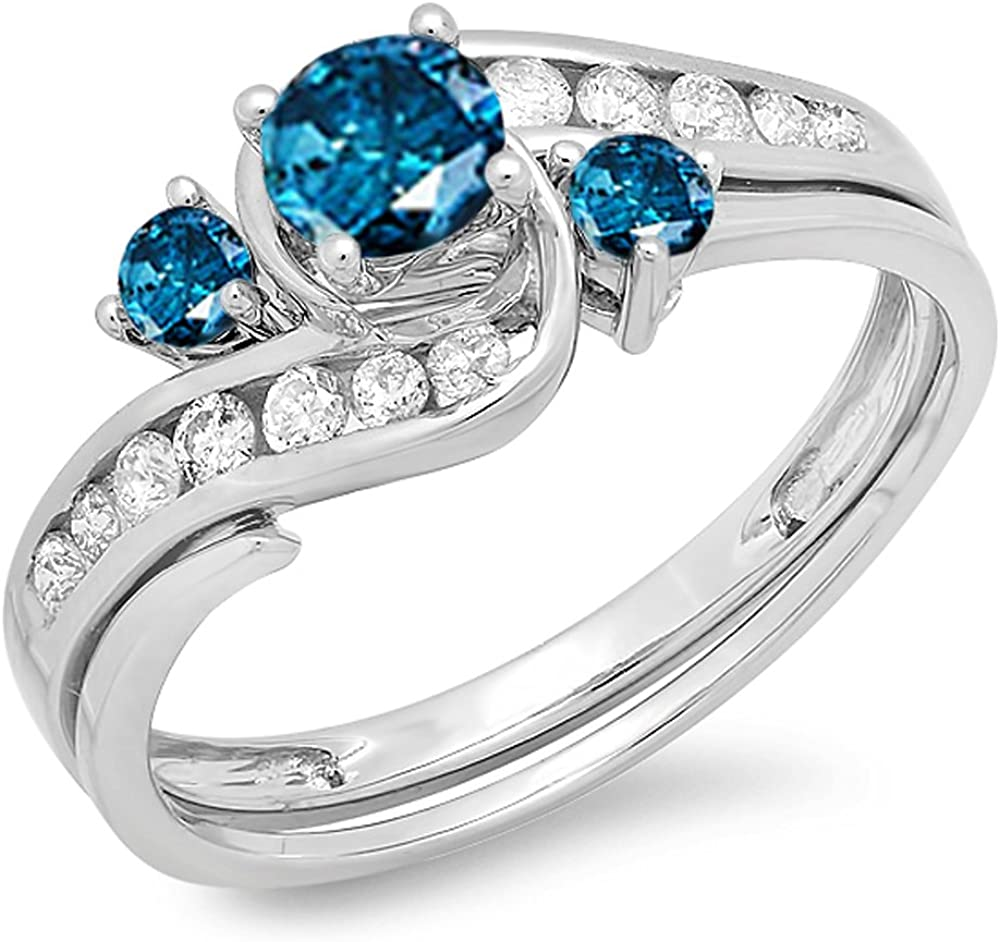 Dazzlingrock Collection 0.90 Carat ctw And Large-scale sale Whit Round Selling and selling Blue 14k