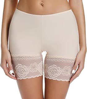 Slip Shorts for Under Dresses Anti Chafing Thigh Bands Underwear Women Girls Lace Stretch Safety Pants Leggings
