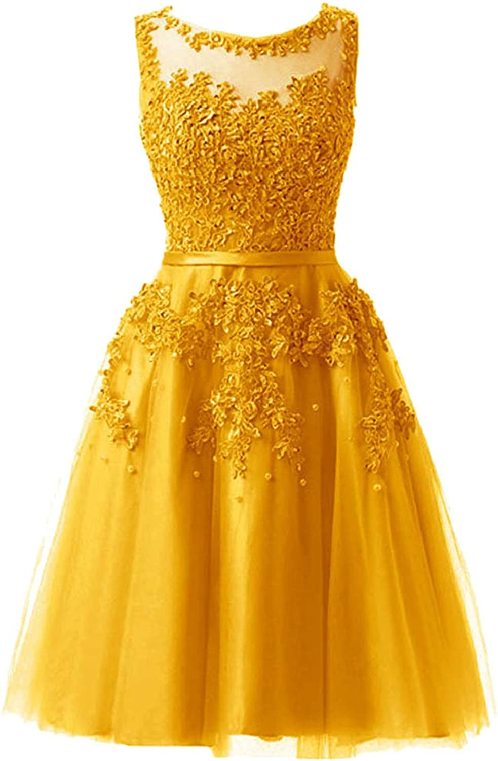 CAFSKYE Lace Illusion Flowers Beading ALine Knee Length Dinner Bridesmaids Dresses Party Short Formal Dress,gold,12
