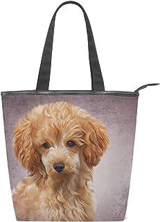alaza Tote Canvas Schultertasche Toy Pudel-Welpen-Hundeweinlese-Handtasche