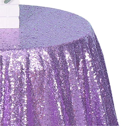 3e Home 50-Inch Round Sequin TableCloth for Party Cake Dessert Table Exhibition Events, Lavender