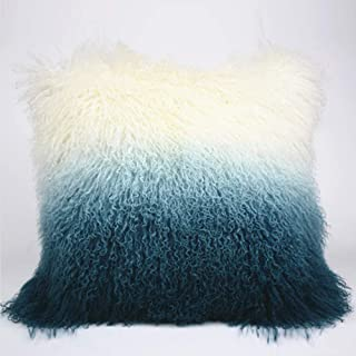 E Cloud Ombre Mongolian Lamb Fur Pillow Cover Luxurious Sheep Skin Cushion Cover Soft Plush Curly Pillow Case Home Decorative Square Wool Throw Pillow cover 16X16 Inch Bedroom Pillow Protector (Teal)