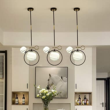 Glass Chandelier, Dimmable Modern Led Wrought Iron Chandelier for Dining Room Bedroom Chandelier