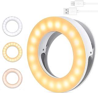 自撮りライト MercuryGo LEDリングライト スマホライト 撮影用ライト 3色モード 無段階調光 クリップ式 USB充電 自撮り補光 美容化粧 YouTube生放送 Vlog