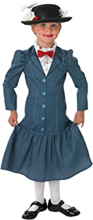 Rubie's Official 1960s Mary Poppins + Hat Girls Fancy Dress 60s Disney Childs Costume Outfit