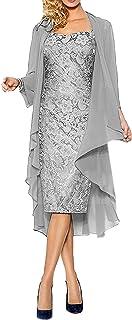 La_Marie Braut Damen Brautmutterkleider Abendkleider Festlichkleider Chiffon Langarm Bolero Promkleider Kurz