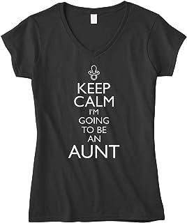 تيشيرت برقبة على شكل حرف V مناسب للنساء مكتوب عليه Keep Calm I'm Going to Be an Aunt من Cybertela