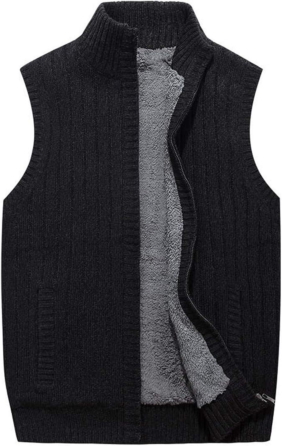 Lentta Men's Chunky Baggy Stand Collar Zip Sleeveless Cable Knit Fleece Vest Sweater
