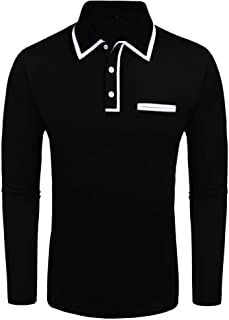 Daupanzees Men`s Classic Casual Long Sleeve White Elastic Ribbed Collar Jersey Polo Shirt
