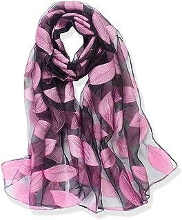 YFZYT Organza-Schal für Damen mit Feder Stickerei Muster/Elegantes Accessoire für Frauen/Organza-Schal/Halstuch/Schulter-Tuch/Schal Chiffon Stola Scarves