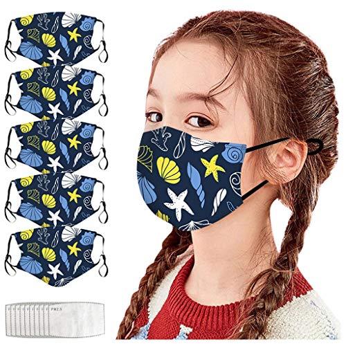 Generic 5PC Visage_Masque Enfants Filles Garçons Bandana de Visage imprimé réglable Respirable réutilisable Lavable extérieur avec Crochet d'oreille réglable(Unisexe,avec 10 F ilter) JIekyoi