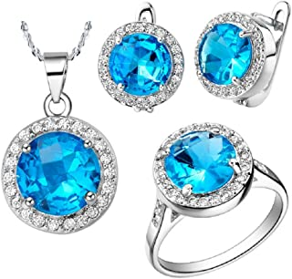 New Plated 18k Gold Diamond Wedding Engagement Rings Gemstone Necklace + Earrings + Ring 011 (N+E+R(US 9))