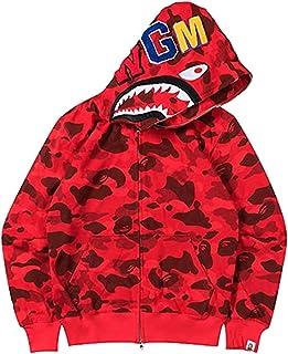 MINIDORA Bape Sudadera con Capucha para Hombre con 3D Estampado de tiburón de Camuflaje Manga Larga Trendy Pullover