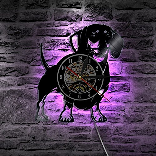 Meet Beauty - Reloj de pared de vinilo con recordatorios 3D para el hogar con luz LED y diseño de perro