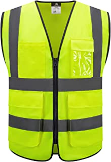 Dib Safety Vest Reflective High Visibility, ANSI Class 2 Vest with Pockets and Zipper, Construction Work Vest Men and Women 2XL, Yellow, Traffic, Highway, Security, Industrial, Tool, Cycling, Walking