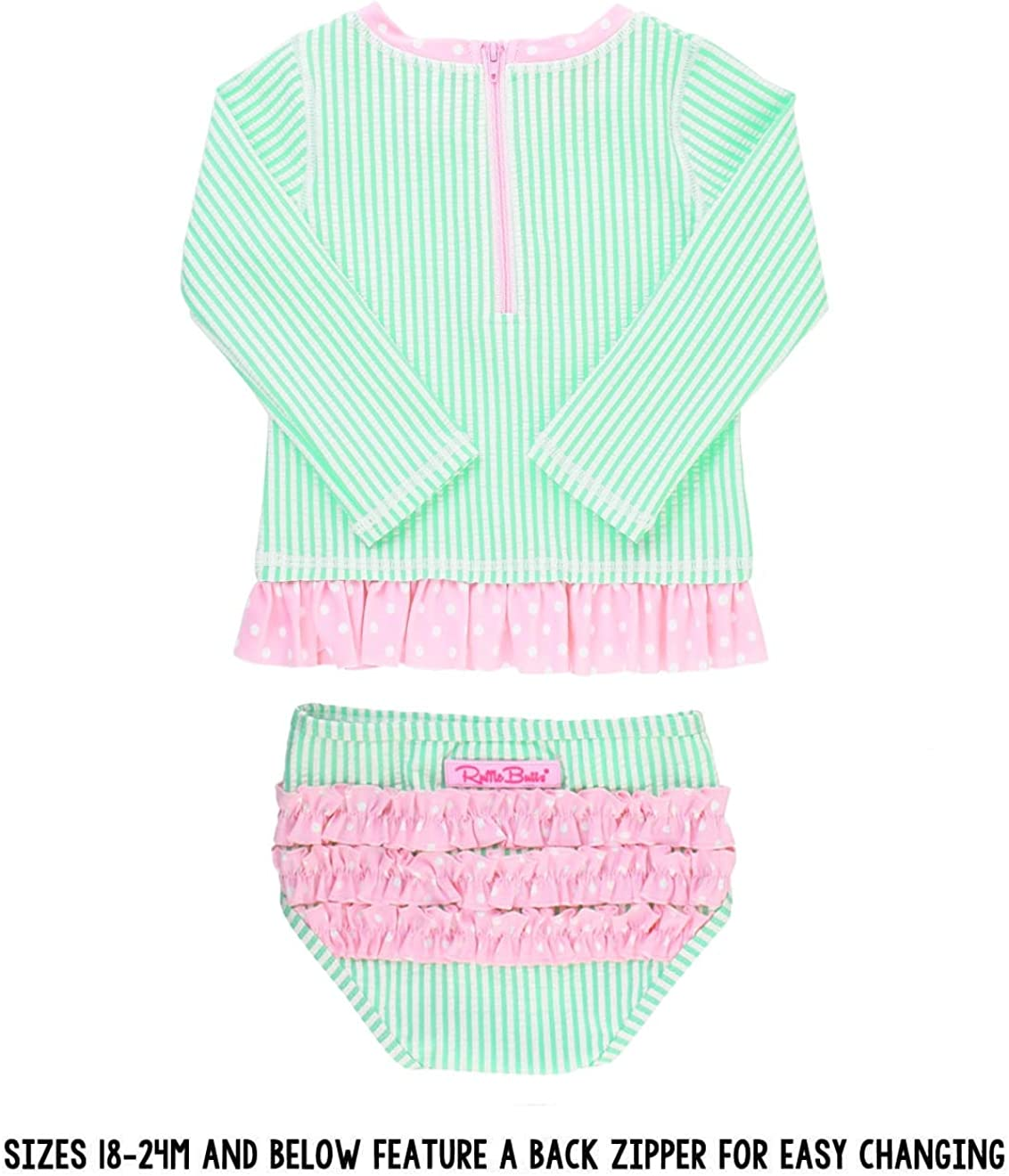 Long Sleeve Bikini with UPF 50 Sun Protection RuffleButts Baby//Toddler Girls Rash Guard 2-Piece Swimsuit Set