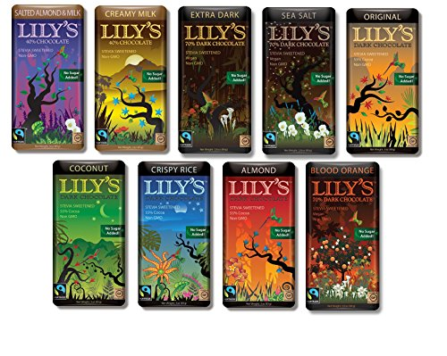 Lilys Chocolate Sampler 9 Pack (1 of each),(Original, Coconut, Crispy Rice,Almond, Creamy Milk,Salted Almond& Milk,Extra Dark,Blood Orange, Sea Salt)