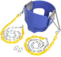JOYMOR Extra Longer 66 inch Outdoor High Back Full Bucket Toddler Swing Seat with Plastic Coated Chain for Kids (Blue)