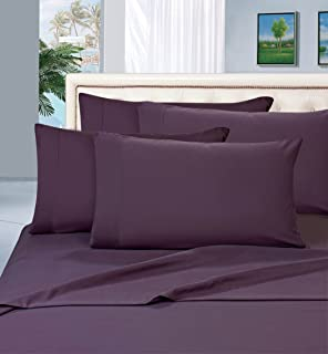 Elegant Comfort Luxurious Amazon 1500 Thread Count Hotel Quality Wrinkle,Fade and Stain Resistant 4-Piece Bed Sheet Set, Deep Pocket, Queen, Eggplant-Purple