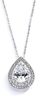 Pear-Shaped Solitaire Necklace Pendant for Brides - Vintage Wedding Bridal Jewelry