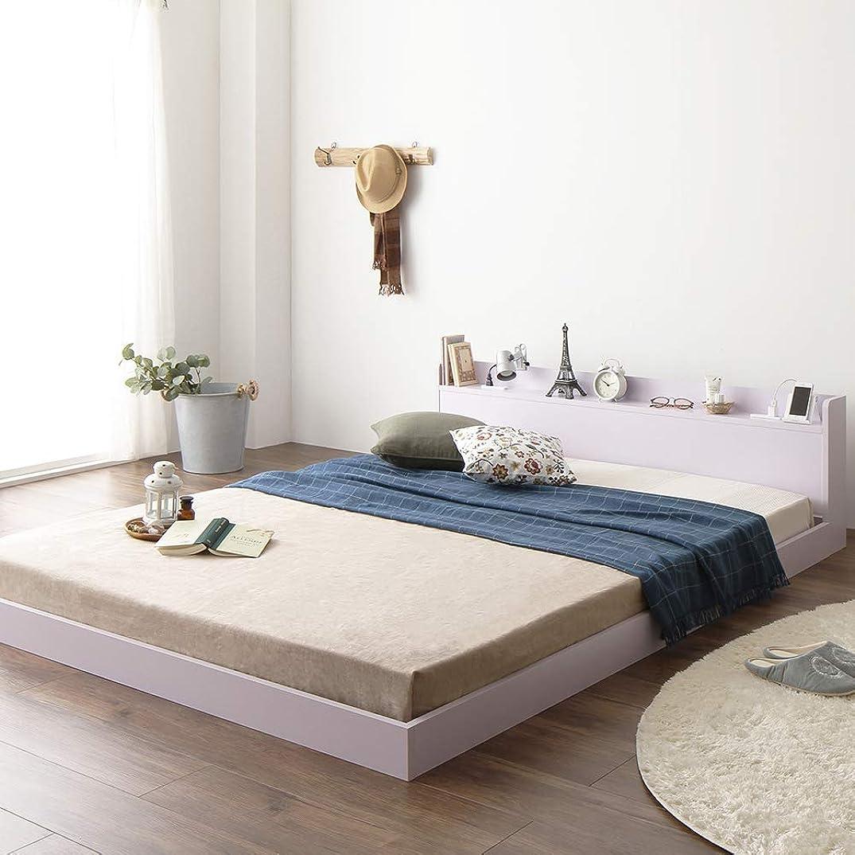 パキスタン人誓い不倫ベッド 低床 ロータイプ すのこ 木製 宮付き 棚付き コンセント付き シンプル モダン ホワイト ダブル ポケットコイルマットレス付き