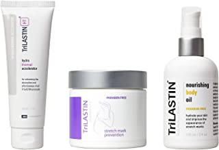 TriLASTIN Maternity Prevention Routine Complete Bundle with (1) Maternity Stretch Mark Prevention Cream, (1) Body Oil, and...