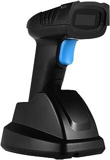 قارئ باركود لاسلكي محمول 1D مع مستقبل USB وقاعدة شحن مسافة نقل طويلة 100 متر لمتاجر البيع بالتجزئة سوبر ماركت