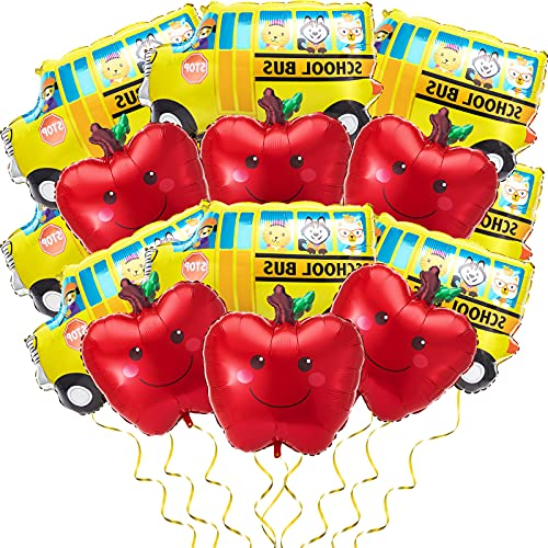 14 Pieces School Bus Foil Balloon Car Balloon Foil and Red Fruit Balloons Party Decoration Balloons for Back to School Birthday Baby Shower Wedding