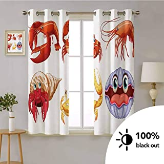 Crabs -Window Treatment Grommet Curtain Panel Illustration of Sea Animals Like Crab Hermit Crab Lobster Shells Shrimp Print -Window Treatments for Bedroom W72 x L63 Inch Orange Yellow