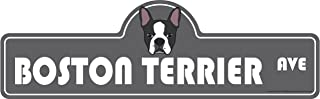 Boston Terrier Street Sign | Indoor/Outdoor | Dog Lover Funny Home Décor for Garages, Living Rooms, Bedroom, Offices | SignMission personalized gift | 20